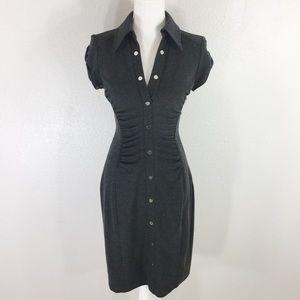 Cache Contour Collection Gray stretch shirt dress